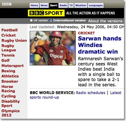 BBC Sports News World Cup 2006